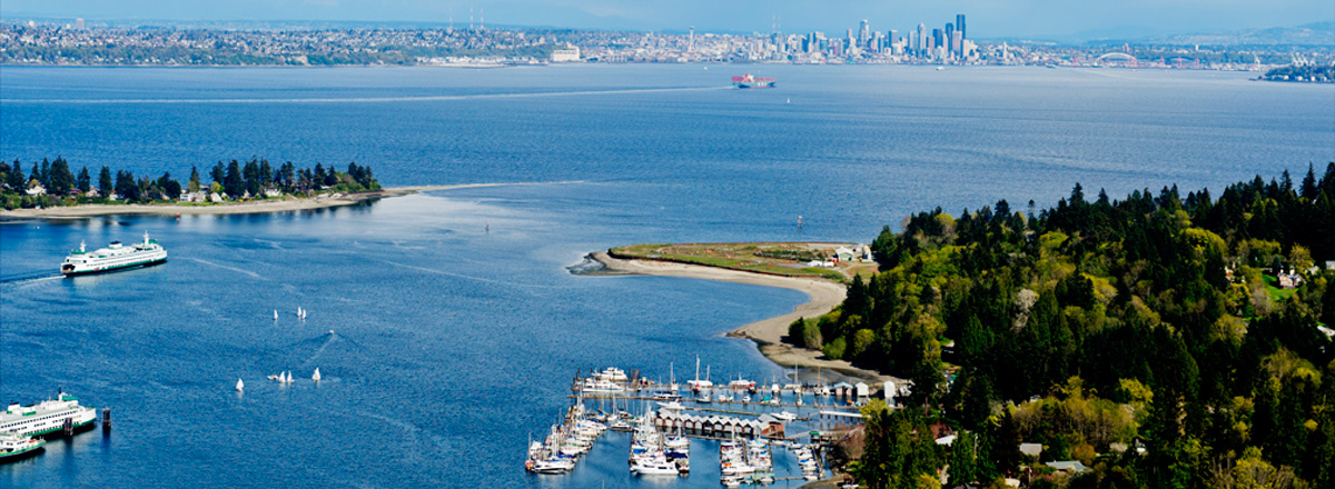 View of Eagle Harbor and Seattle from Bainbridge Island