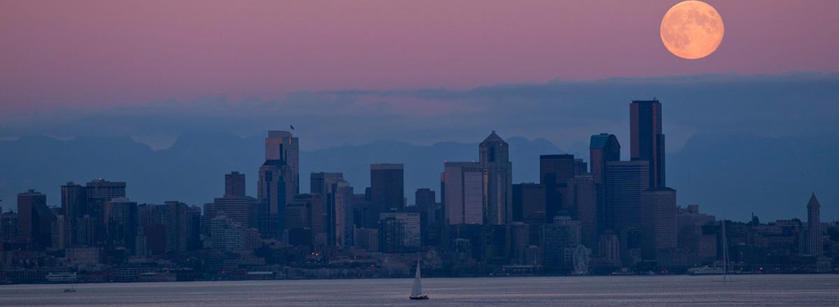 Moon over Seattle, a ferry ride away from Bainbridge Island